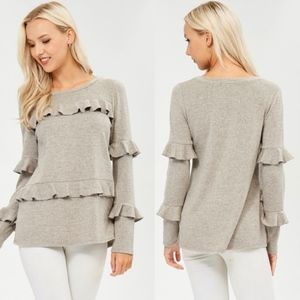 TRINNIE Ruffle Detail Long Sleeve Top